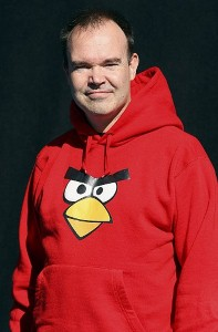 "The ""Angry Birds"" brand has expanded beyond the gaming app to merchandise, such as this hoodie pictured on the app's co-founder Peter Vesterbacka"